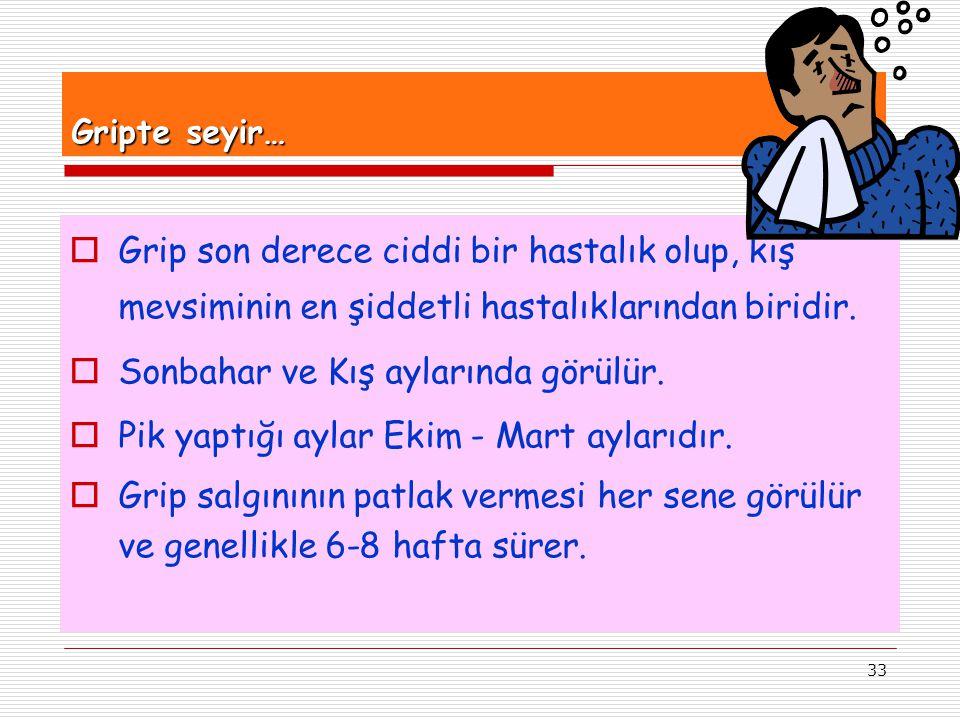 33 Gripte seyir…  Grip son derece ciddi bir hastalık olup, kış mevsiminin en şiddetli hastalıklarından biridir.  Sonbahar ve Kış aylarında görülür.