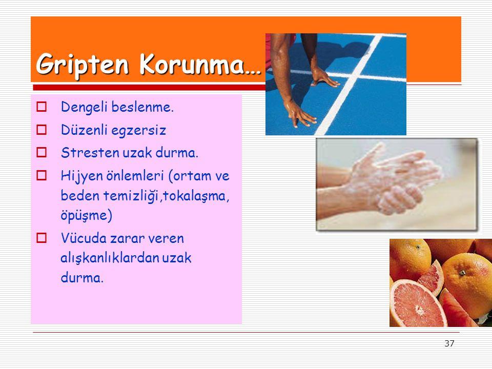 37 Gripten Korunma…  Dengeli beslenme.  Düzenli egzersiz  Stresten uzak durma.  Hijyen önlemleri (ortam ve beden temizliği,tokalaşma, öpüşme)  Vü