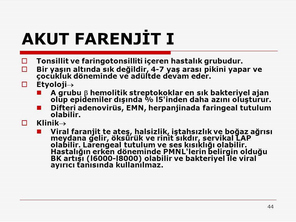 44 AKUT FARENJİT I  Tonsillit ve faringotonsilliti içeren hastalık grubudur.  Bir yaşın altında sık değildir, 4-7 yaş arası pikini yapar ve çocukluk
