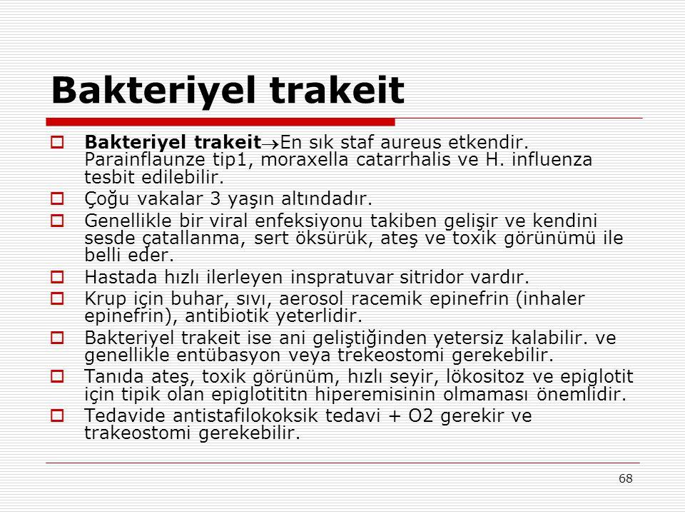 68 Bakteriyel trakeit  Bakteriyel trakeitEn sık staf aureus etkendir. Parainflaunze tip1, moraxella catarrhalis ve H. influenza tesbit edilebilir. 