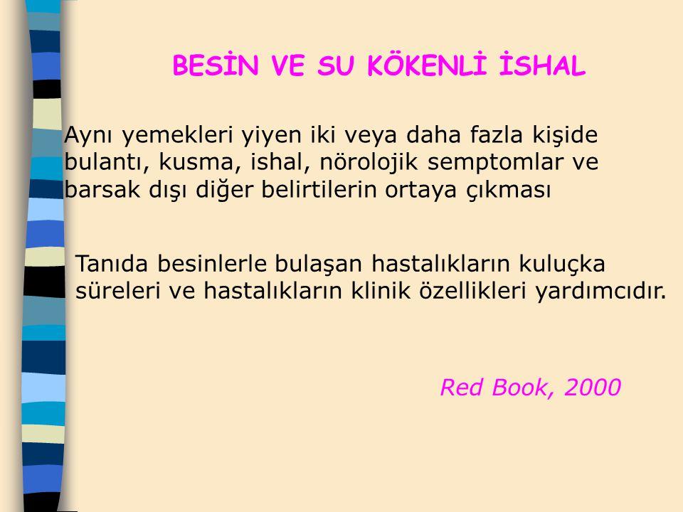 Red Book, 2000 BESİN VE SU KÖKENLİ İSHAL Aynı yemekleri yiyen iki veya daha fazla kişide bulantı, kusma, ishal, nörolojik semptomlar ve barsak dışı di