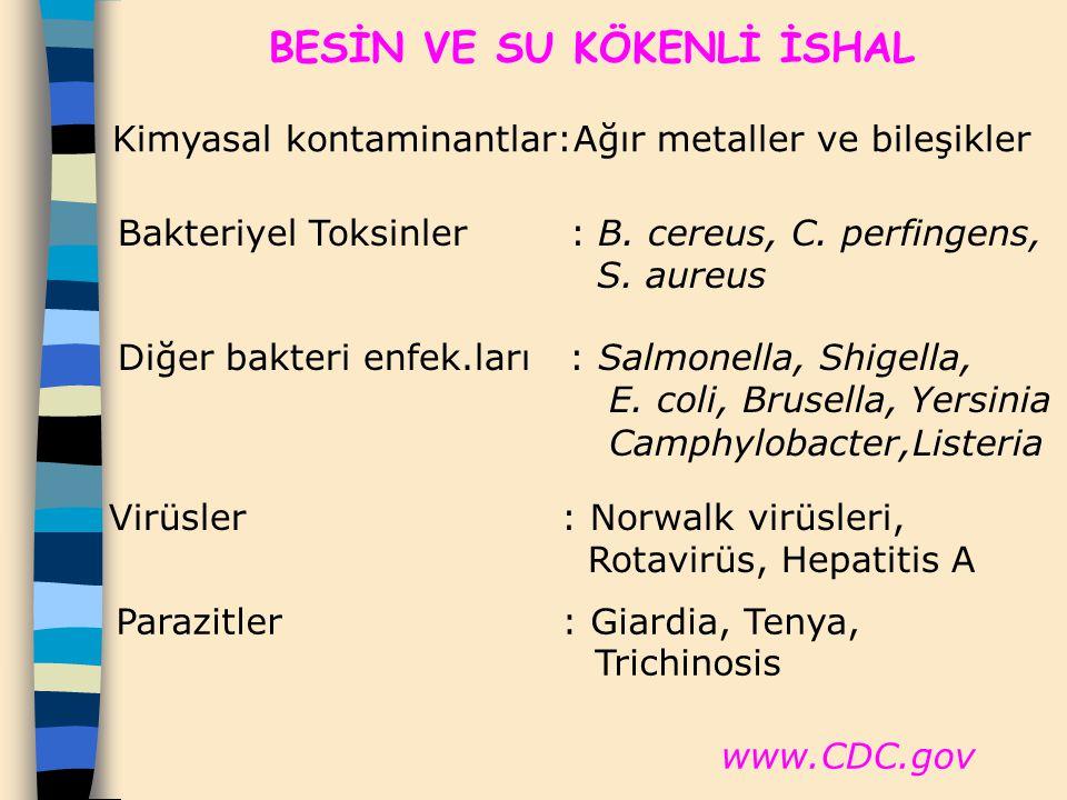 Parazitler : Giardia, Tenya, Trichinosis BESİN VE SU KÖKENLİ İSHAL Kimyasal kontaminantlar:Ağır metaller ve bileşikler Bakteriyel Toksinler : B. cereu
