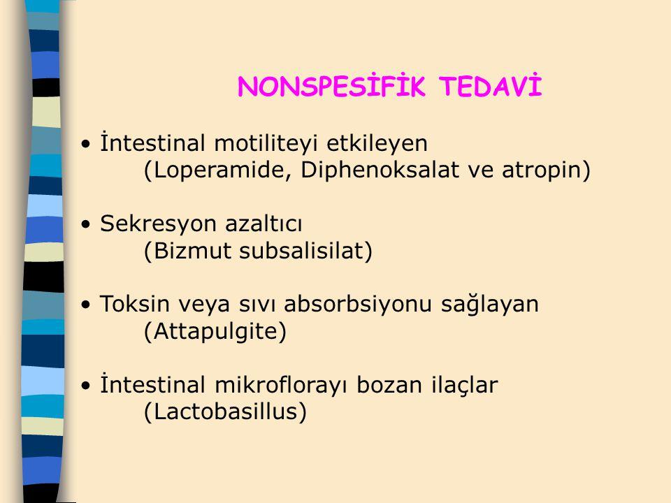NONSPESİFİK TEDAVİ İntestinal motiliteyi etkileyen (Loperamide, Diphenoksalat ve atropin) Sekresyon azaltıcı (Bizmut subsalisilat) Toksin veya sıvı ab