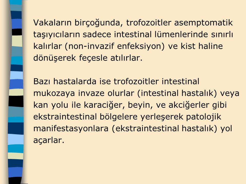 Vakaların birçoğunda, trofozoitler asemptomatik taşıyıcıların sadece intestinal lümenlerinde sınırlı kalırlar (non-invazif enfeksiyon) ve kist haline