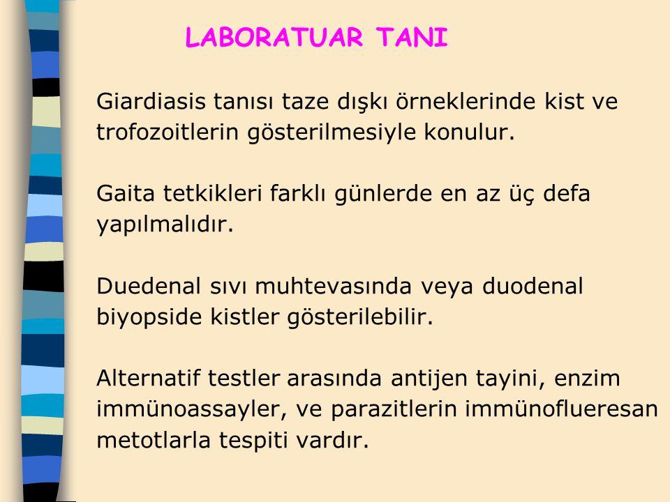 LABORATUAR TANI Giardiasis tanısı taze dışkı örneklerinde kist ve trofozoitlerin gösterilmesiyle konulur. Gaita tetkikleri farklı günlerde en az üç de