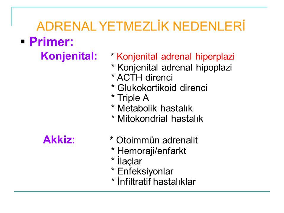 ADRENAL YETMEZLİK NEDENLERİ  Primer: Konjenital: * Konjenital adrenal hiperplazi * Konjenital adrenal hipoplazi * ACTH direnci * Glukokortikoid diren