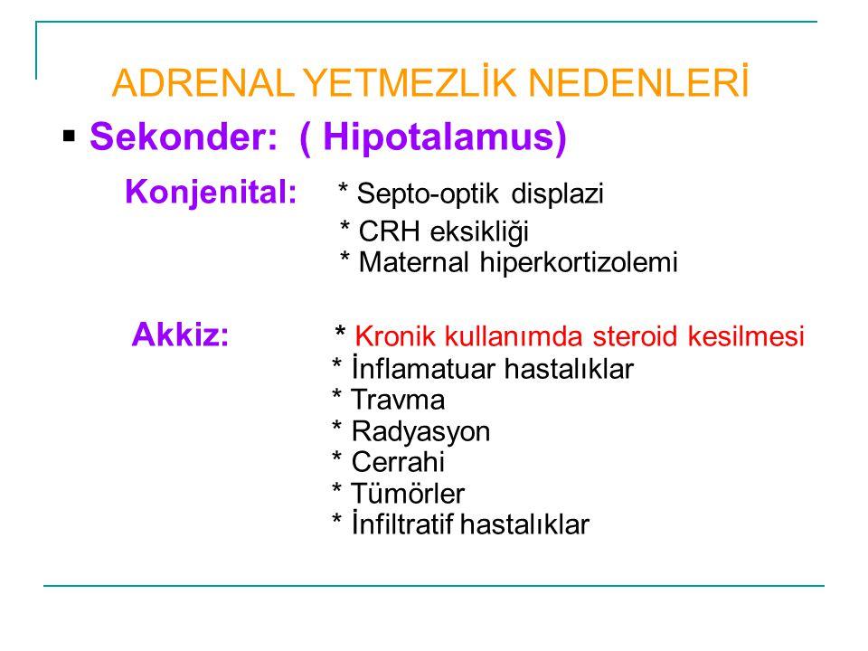ADRENAL YETMEZLİK NEDENLERİ  Sekonder: ( Hipotalamus) Konjenital: * Septo-optik displazi * CRH eksikliği * Maternal hiperkortizolemi Akkiz: * Kronik