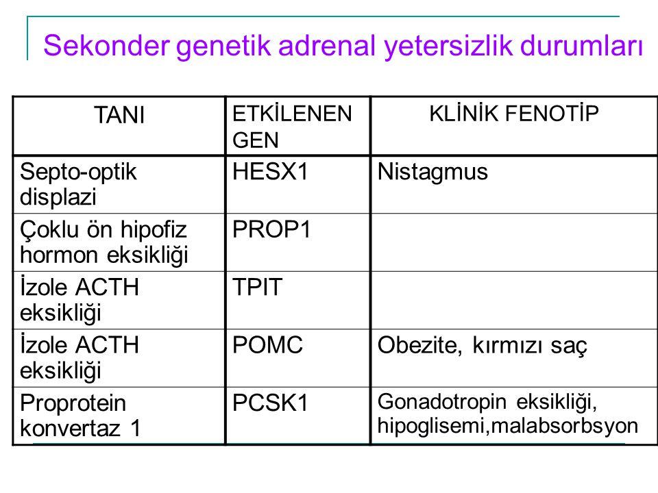 Sekonder genetik adrenal yetersizlik durumları TANI ETKİLENEN GEN KLİNİK FENOTİP Septo-optik displazi HESX1Nistagmus Çoklu ön hipofiz hormon eksikliği