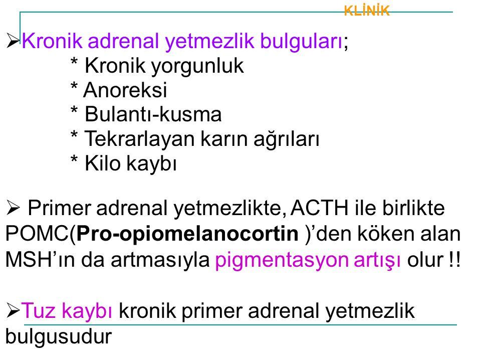 KLİNİK  Kronik adrenal yetmezlik bulguları; * Kronik yorgunluk * Anoreksi * Bulantı-kusma * Tekrarlayan karın ağrıları * Kilo kaybı  Primer adrenal
