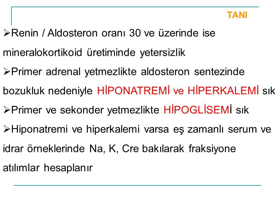 TANI  Renin / Aldosteron oranı 30 ve üzerinde ise mineralokortikoid üretiminde yetersizlik  Primer adrenal yetmezlikte aldosteron sentezinde bozuklu