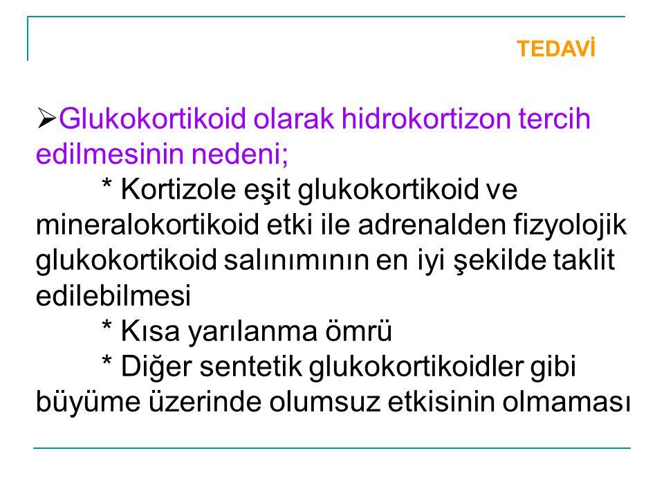 TEDAVİ  Glukokortikoid olarak hidrokortizon tercih edilmesinin nedeni; * Kortizole eşit glukokortikoid ve mineralokortikoid etki ile adrenalden fizyo