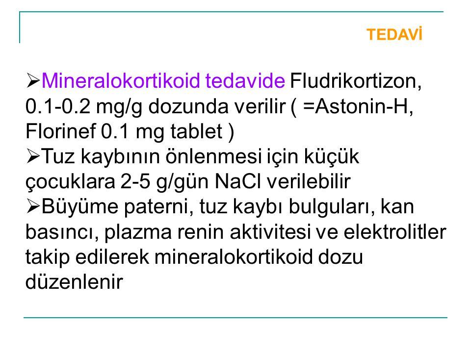 TEDAVİ  Mineralokortikoid tedavide Fludrikortizon, 0.1-0.2 mg/g dozunda verilir ( =Astonin-H, Florinef 0.1 mg tablet )  Tuz kaybının önlenmesi için
