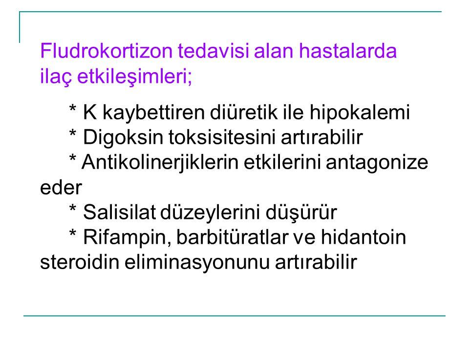 Fludrokortizon tedavisi alan hastalarda ilaç etkileşimleri; * K kaybettiren diüretik ile hipokalemi * Digoksin toksisitesini artırabilir * Antikoliner