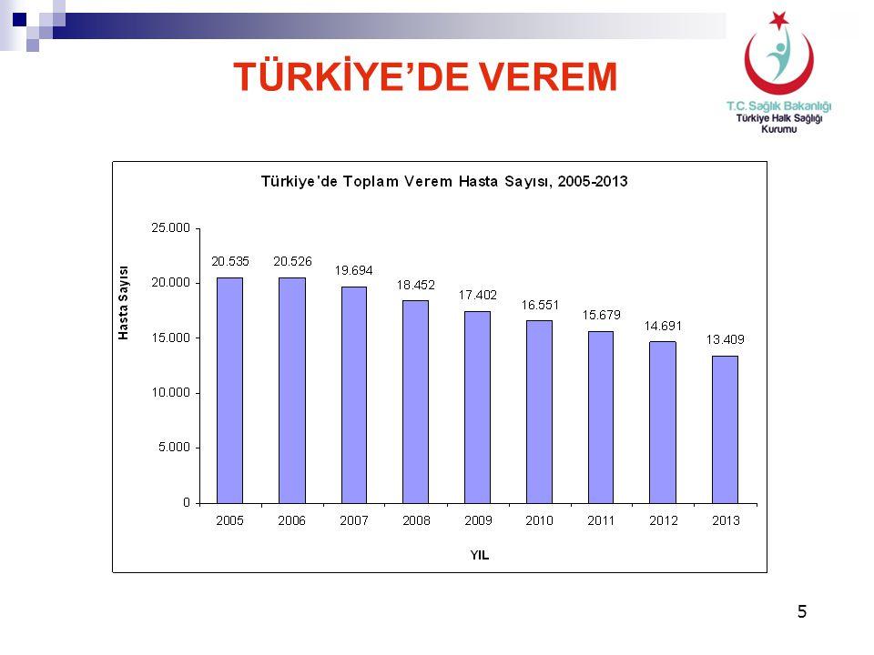 Türkiye'nin 2013 yılı toplam verem hasta sayısı: 13.409 Erkek7.881%59 Kadın5.528%41 Akciğer veremi8.655%65 Akciğer dışı verem4.754%35 TÜRKİYE'DE VEREM
