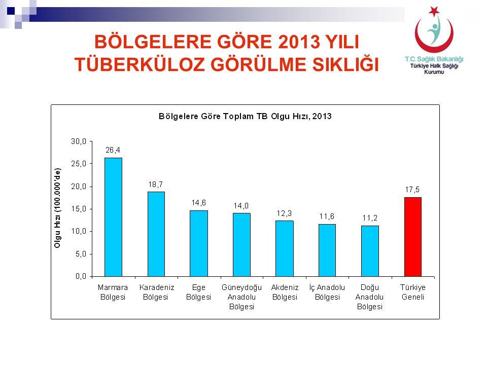 Toplam Tüberküloz Olgularında İllere Göre Olgu Hızları, 2013