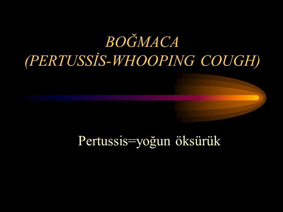 BOĞMACA İlaç Tedavisi; –Seçilecek ilk antibiyotik ERİTROMİSİN dir –50 mg/kg/ gün, 4 eşit dozda kullanılır ( Maksimum 2 Gram) –14 gün kullanılır.