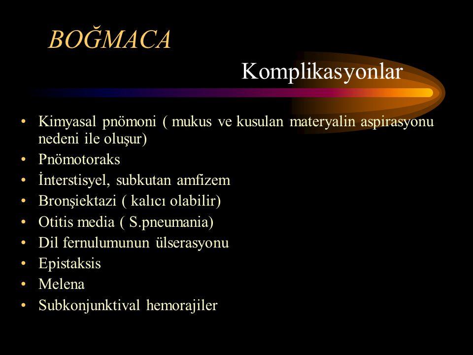 BOĞMACA Kimyasal pnömoni ( mukus ve kusulan materyalin aspirasyonu nedeni ile oluşur) Pnömotoraks İnterstisyel, subkutan amfizem Bronşiektazi ( kalıcı olabilir) Otitis media ( S.pneumania) Dil fernulumunun ülserasyonu Epistaksis Melena Subkonjunktival hemorajiler Komplikasyonlar