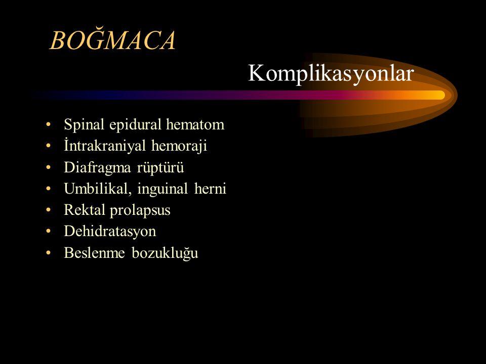 BOĞMACA Spinal epidural hematom İntrakraniyal hemoraji Diafragma rüptürü Umbilikal, inguinal herni Rektal prolapsus Dehidratasyon Beslenme bozukluğu Komplikasyonlar