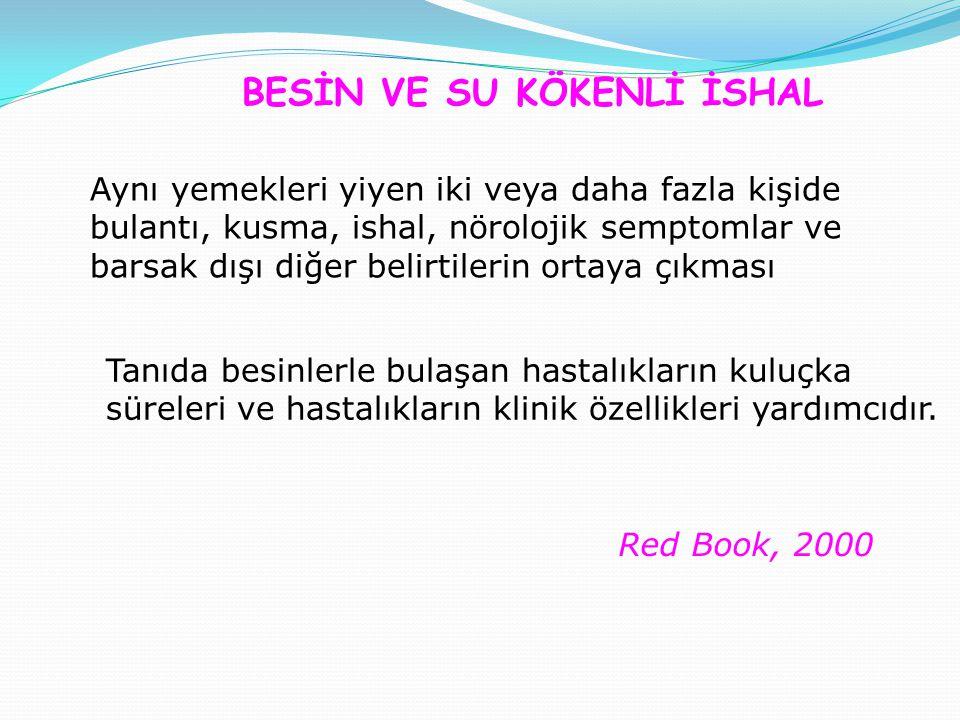 Red Book, 2000 BESİN VE SU KÖKENLİ İSHAL Aynı yemekleri yiyen iki veya daha fazla kişide bulantı, kusma, ishal, nörolojik semptomlar ve barsak dışı diğer belirtilerin ortaya çıkması Tanıda besinlerle bulaşan hastalıkların kuluçka süreleri ve hastalıkların klinik özellikleri yardımcıdır.