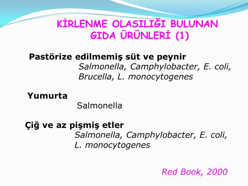 Çiğ ve az pişmiş etler Salmonella, Camphylobacter, E.