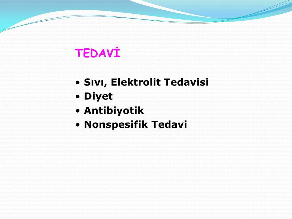 TEDAVİ Sıvı, Elektrolit Tedavisi Diyet Antibiyotik Nonspesifik Tedavi