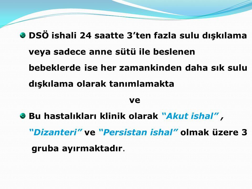 DSÖ ishali 24 saatte 3'ten fazla sulu dışkılama veya sadece anne sütü ile beslenen bebeklerde ise her zamankinden daha sık sulu dışkılama olarak tanımlamakta ve Bu hastalıkları klinik olarak Akut ishal , Dizanteri ve Persistan ishal olmak üzere 3 gruba ayırmaktadır.