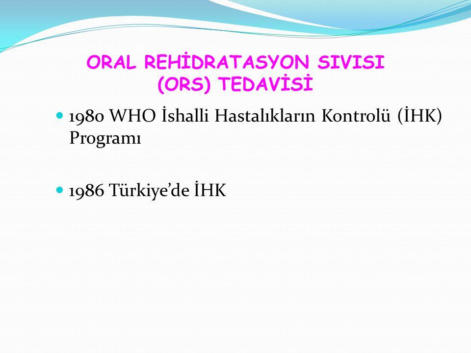 ORAL REHİDRATASYON SIVISI (ORS) TEDAVİSİ 1980 WHO İshalli Hastalıkların Kontrolü (İHK) Programı 1986 Türkiye'de İHK