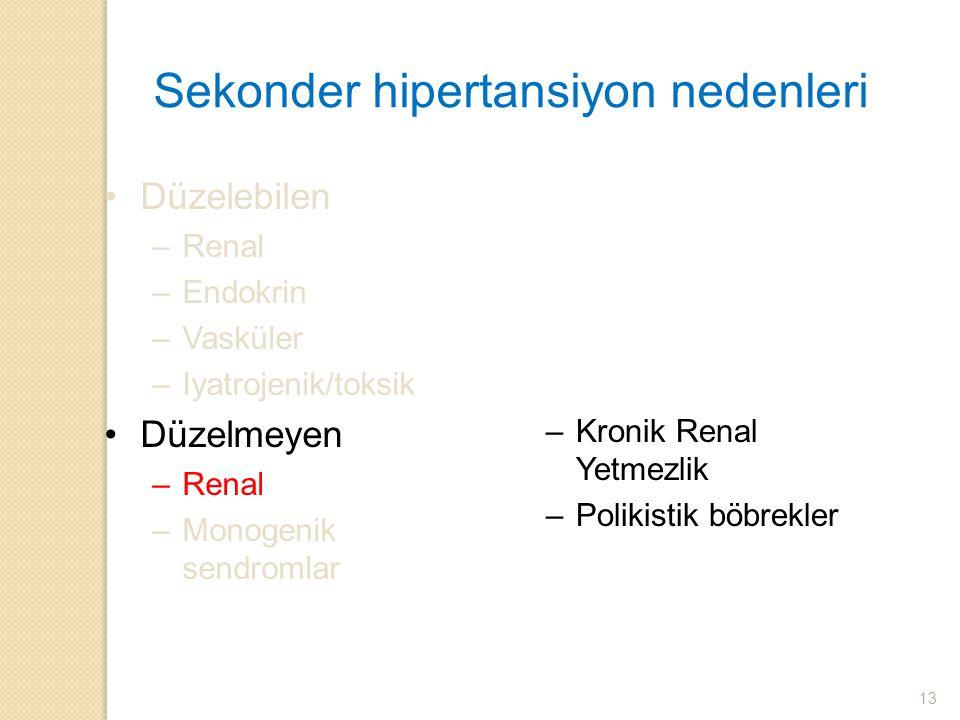 Sekonder hipertansiyon nedenleri Düzelebilen –Renal –Endokrin –Vasküler –Iyatrojenik/toksik Düzelmeyen –Renal –Monogenik sendromlar –Kronik Renal Yetm