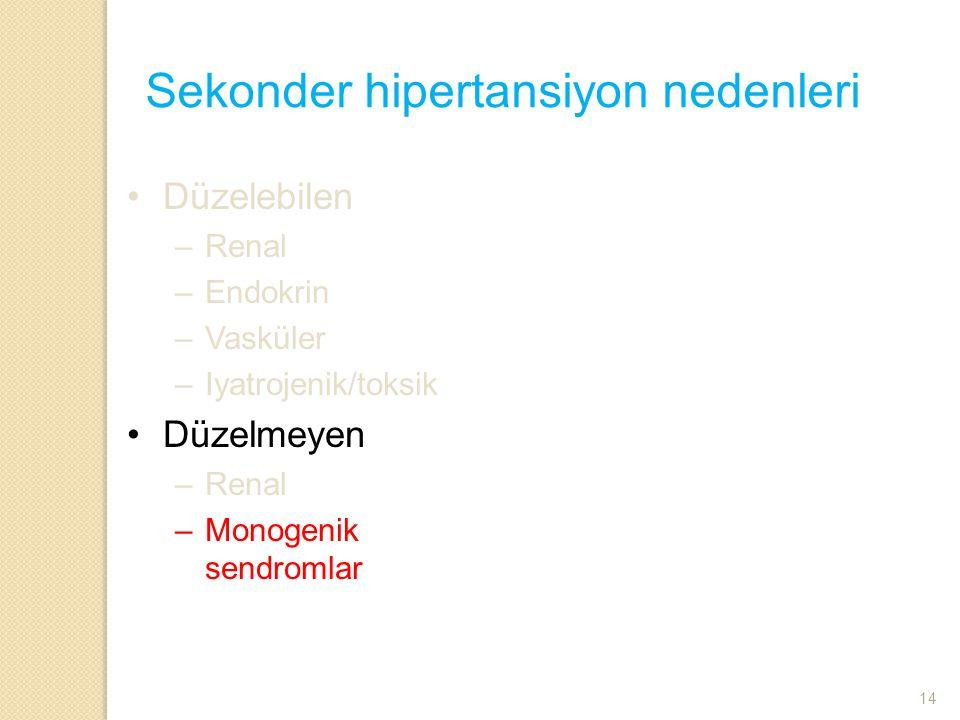 Sekonder hipertansiyon nedenleri Düzelebilen –Renal –Endokrin –Vasküler –Iyatrojenik/toksik Düzelmeyen –Renal –Monogenik sendromlar 14