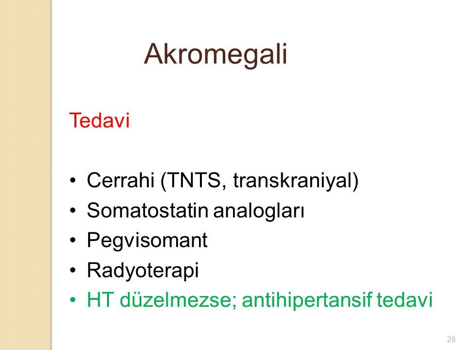 Akromegali Tedavi Cerrahi (TNTS, transkraniyal) Somatostatin analogları Pegvisomant Radyoterapi HT düzelmezse; antihipertansif tedavi 28