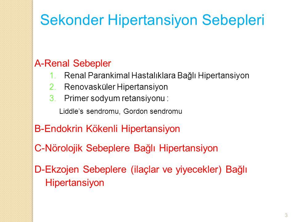 Sekonder Hipertansiyon Sebepleri A-Renal Sebepler 1.Renal Parankimal Hastalıklara Bağlı Hipertansiyon 2.Renovasküler Hipertansiyon 3.Primer sodyum ret