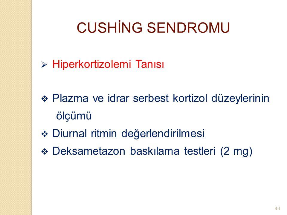 CUSHİNG SENDROMU  Hiperkortizolemi Tanısı  Plazma ve idrar serbest kortizol düzeylerinin ölçümü  Diurnal ritmin değerlendirilmesi  Deksametazon ba