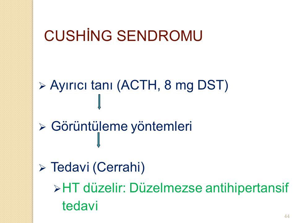 CUSHİNG SENDROMU  Ayırıcı tanı (ACTH, 8 mg DST)  Görüntüleme yöntemleri  Tedavi (Cerrahi)  HT düzelir: Düzelmezse antihipertansif tedavi 44