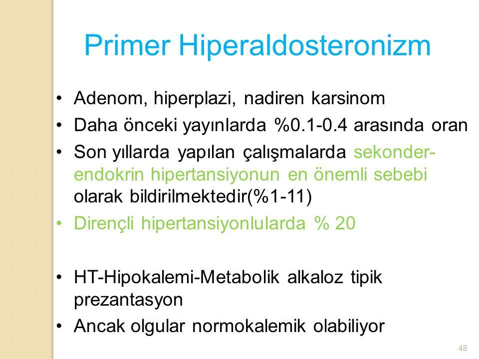 Primer Hiperaldosteronizm Adenom, hiperplazi, nadiren karsinom Daha önceki yayınlarda %0.1-0.4 arasında oran Son yıllarda yapılan çalışmalarda sekonde