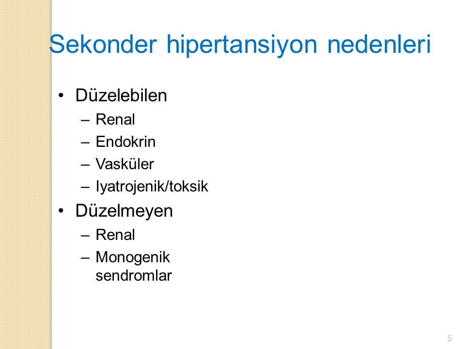 Sekonder hipertansiyon nedenleri Düzelebilen –Renal –Endokrin –Vasküler –Iyatrojenik/toksik Düzelmeyen –Renal –Monogenik sendromlar 5