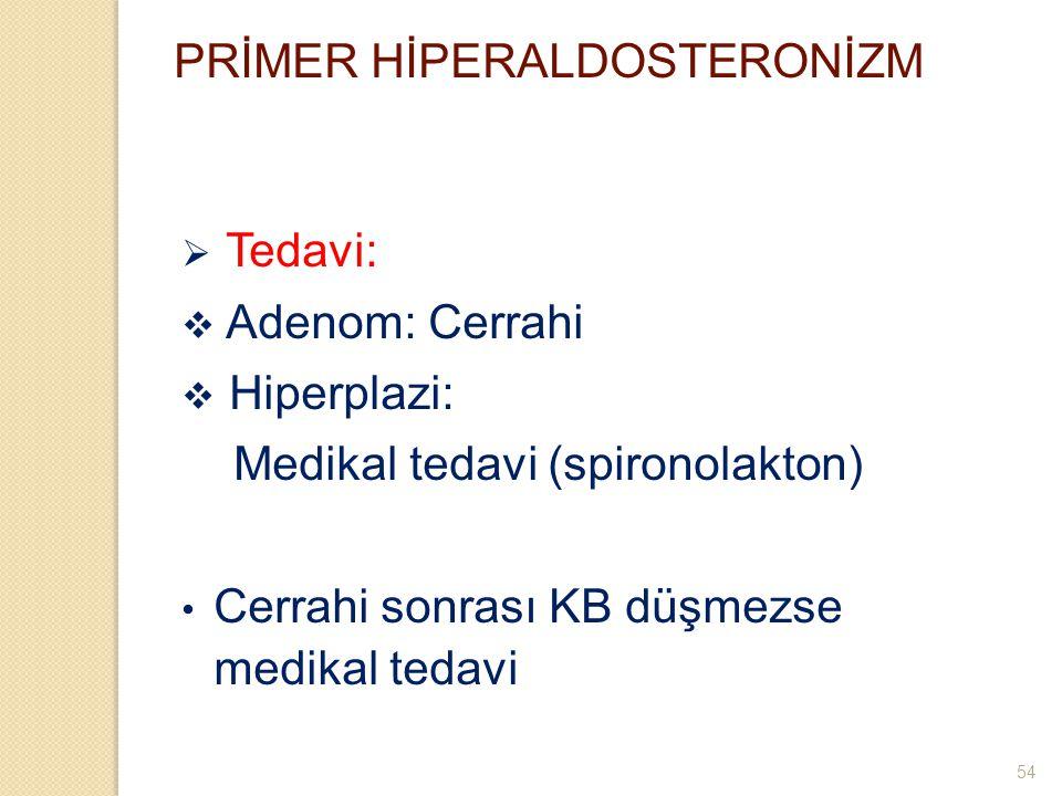 PRİMER HİPERALDOSTERONİZM  Tedavi:  Adenom: Cerrahi  Hiperplazi: Medikal tedavi (spironolakton) Cerrahi sonrası KB düşmezse medikal tedavi 54