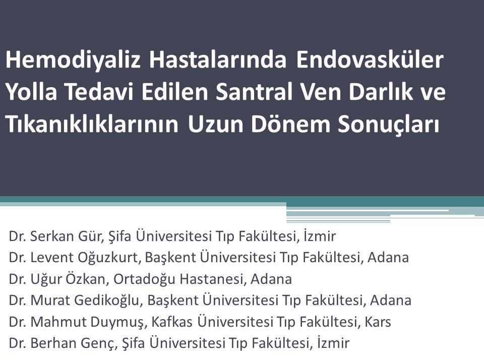 Hemodiyaliz Hastalarında Endovasküler Yolla Tedavi Edilen Santral Ven Darlık ve Tıkanıklıklarının Uzun Dönem Sonuçları Dr. Serkan Gür, Şifa Üniversite