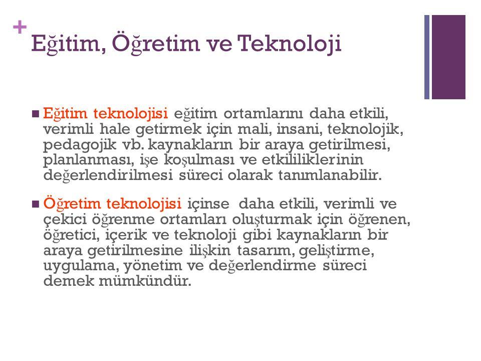 + E ğ itim, Ö ğ retim ve Teknoloji E ğ itim teknolojisi e ğ itim ortamlarını daha etkili, verimli hale getirmek için mali, insani, teknolojik, pedagoj