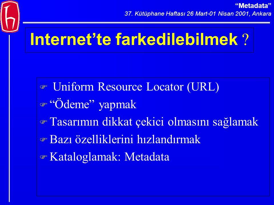 Metadata 37.Kütüphane Haftası 26 Mart-01 Nisan 2001, Ankara Internet'te farkedilebilmek .