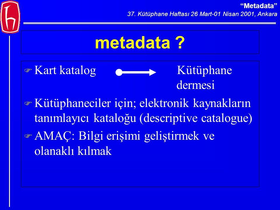 Metadata 37. Kütüphane Haftası 26 Mart-01 Nisan 2001, Ankara metadata .