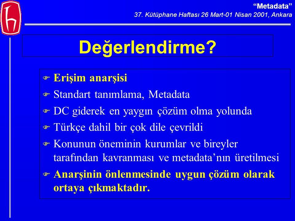 Metadata 37.Kütüphane Haftası 26 Mart-01 Nisan 2001, Ankara Değerlendirme.