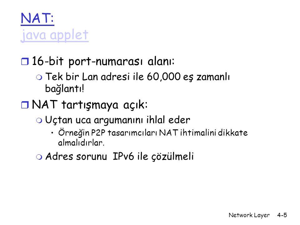 Network Layer4-5 NAT: java applet java applet r 16-bit port-numarası alanı: m Tek bir Lan adresi ile 60,000 eş zamanlı bağlantı.
