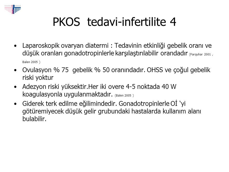 PKOS tedavi-infertilite 4 Laparoskopik ovaryan diatermi : Tedavinin etkinliği gebelik oranı ve düşük oranları gonadotropinlerle karşılaştırılabilir or