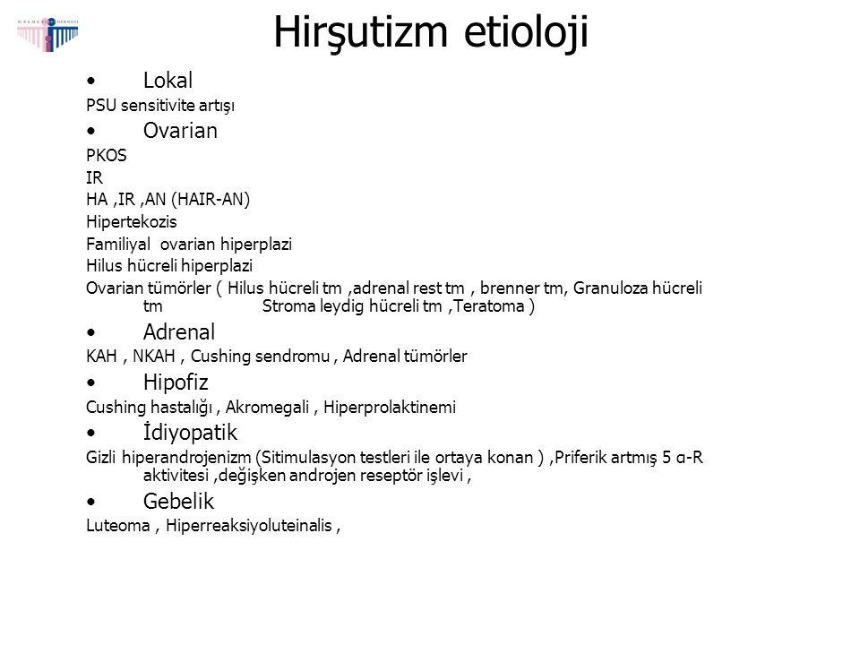 Hirşutizm etioloji Lokal PSU sensitivite artışı Ovarian PKOS IR HA,IR,AN (HAIR-AN) Hipertekozis Familiyal ovarian hiperplazi Hilus hücreli hiperplazi