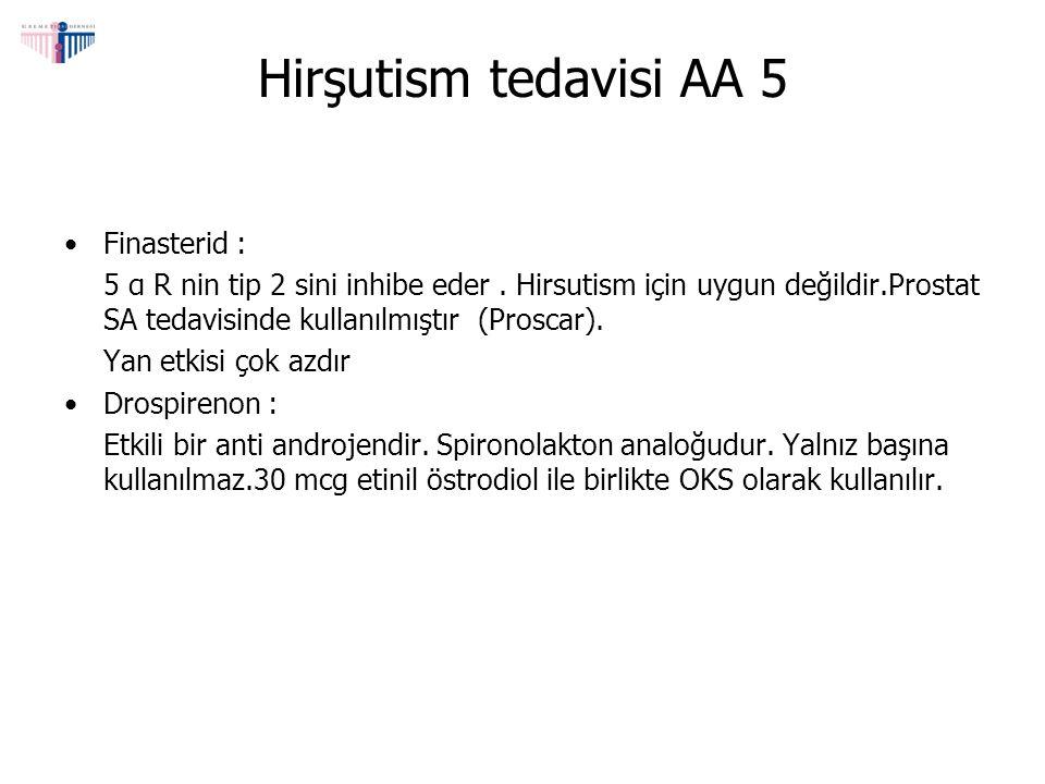 Hirşutism tedavisi AA 5 Finasterid : 5 α R nin tip 2 sini inhibe eder. Hirsutism için uygun değildir.Prostat SA tedavisinde kullanılmıştır (Proscar).