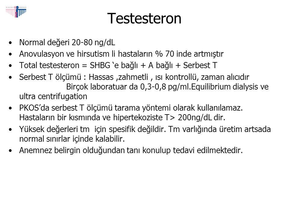Testesteron Normal değeri 20-80 ng/dL Anovulasyon ve hirsutism li hastaların % 70 inde artmıştır Total testesteron = SHBG 'e bağlı + A bağlı + Serbest