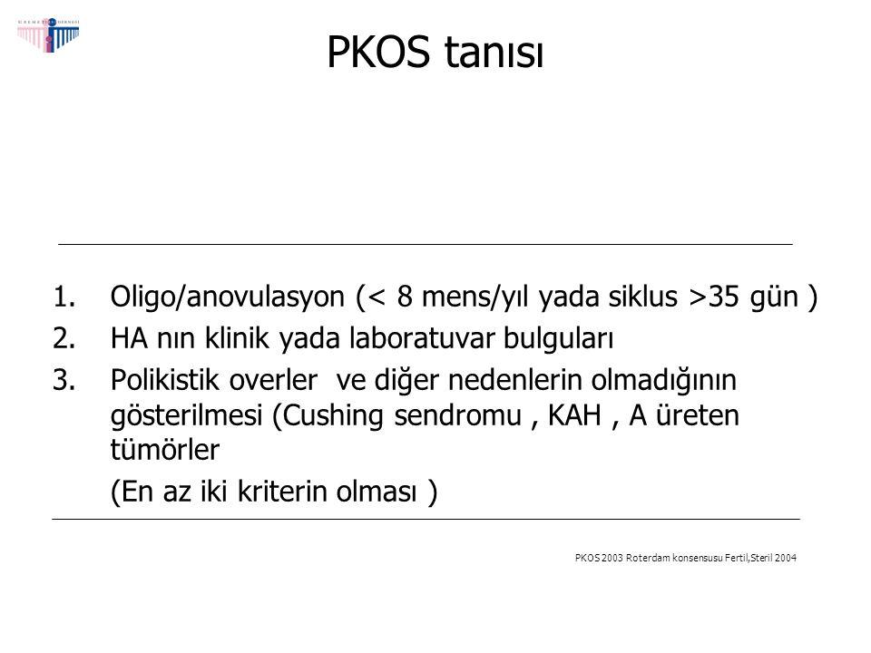 PKOS Klinik Laboratuvar Cilt bulguları Sebore, Akne,Hirsutism,Alopesi, Akantozis,Nigrikans Menstrual bozukluklar Oligo/amonere,Anovulasyon ve infertilite, Polikistik overler (% 80-100) Disfonksiyonel uterin kanama, Artmış endometriyal kanser riski Metabolik bulgular Obezite (% 50), Bozulmuş glikoz toleransı, Tip II diabet, Hiperlipidemi Artmış KVH riski, Laboratuvar bulguları SHBG LH:FSH > 2 ( Obez hastalar dışında), Testesteron, FreeTestesteron, DHEAS, Anormal OGTT Trigliserid, LDL:HDL Somani,Dermatologic Therapy,2008