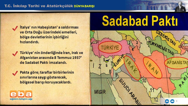 T.C. İnkılap Tarihi ve Atatürkçülük DÜNYA BARIŞI 9 İtalya' nın Habeşistan' a saldırması ve Orta Doğu üzerindeki emelleri, bölge devletlerinin işbirliğ