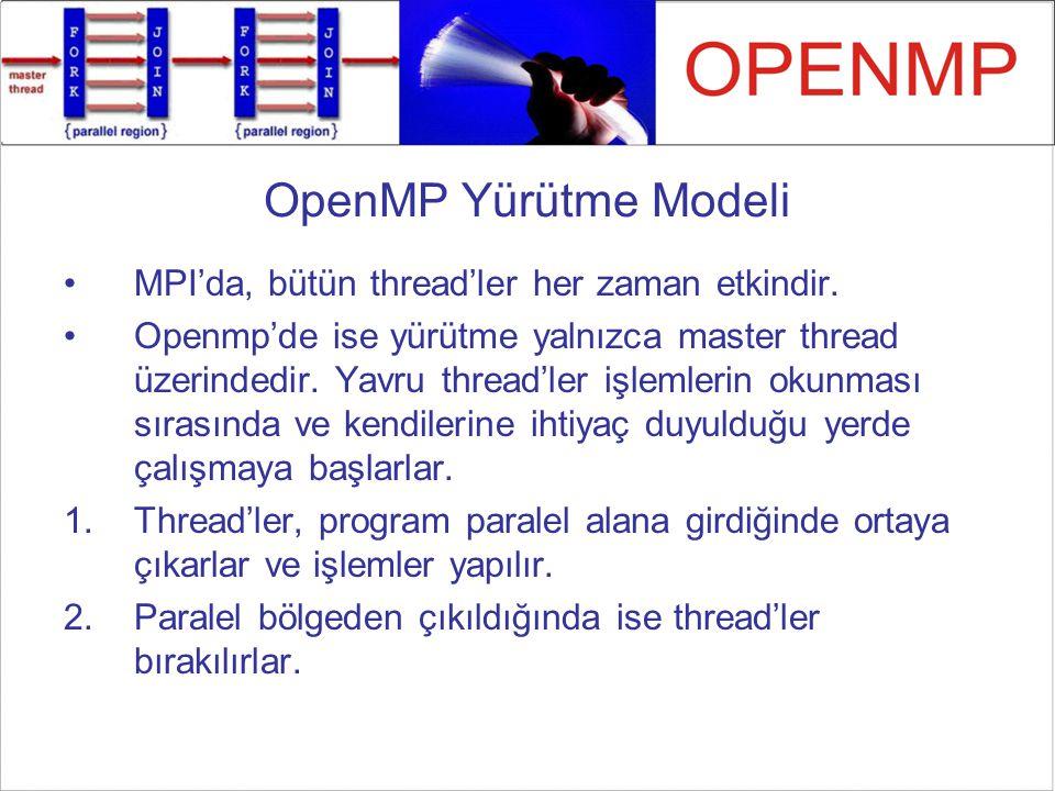 OpenMP Yürütme Modeli MPI'da, bütün thread'ler her zaman etkindir. Openmp'de ise yürütme yalnızca master thread üzerindedir. Yavru thread'ler işlemler