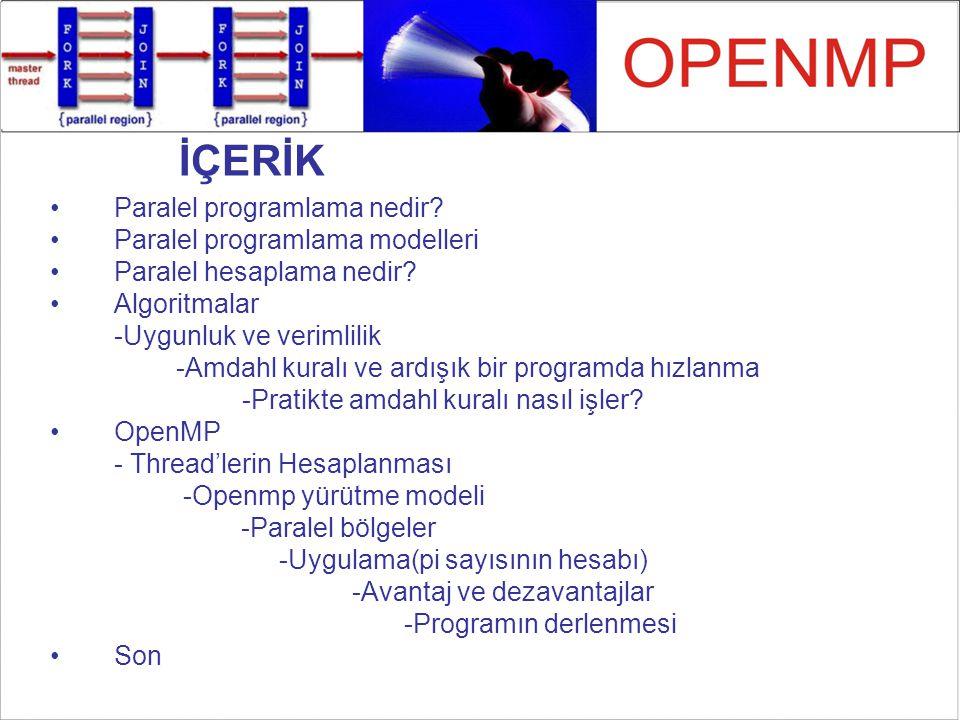 OpenMP Yürütme Modeli MPI'da, bütün thread'ler her zaman etkindir.
